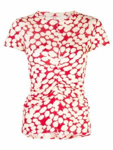 Proenza Schouler Painted Dot Cinched Short Sleeve T-Shirt - Red