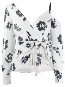 Self-Portrait off-shoulder floral print blouse - White