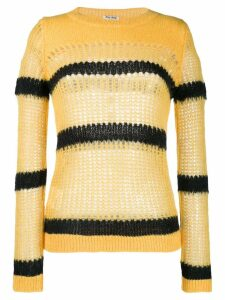 Miu Miu striped open-knit jumper - Yellow