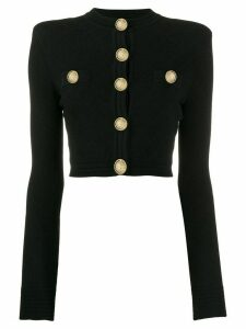 Balmain gold-tone embellished cropped cardigan - Black