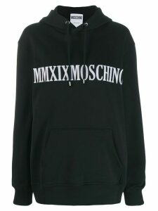 Moschino logo embroidered hoodie - Black
