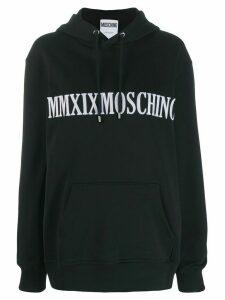 Moschino logo embroidered hoodie - Black