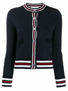 Thom Browne contrast ribbed trim cardigan - Blue