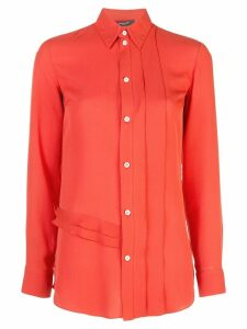 Derek Lam Long Sleeve Ruffle Edge Georgette Button-Down Blouse - Red