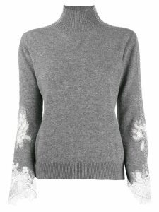 Ermanno Scervino lace sleeve jumper - Grey