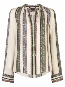 Derek Lam Printed Provincal Striped Kara Blouse with Button Detail -