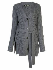 Proenza Schouler Cable Knit Robe Cardigan - Grey