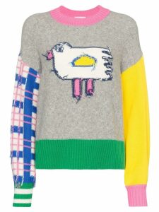 Mira Mikati colour-block bird motif jumper - Grey