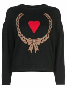 Boutique Moschino heart intarsia jumper - Black