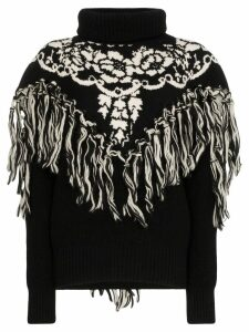 Sacai poncho-style fringed sweater - Black