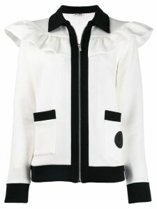 Miu Miu ruffle trim jacket - White