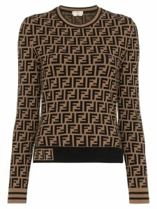 Fendi FF logo intarsia jumper - Brown