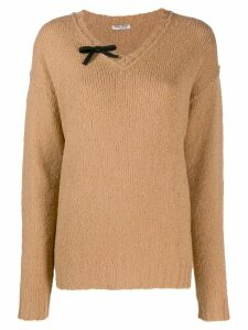 Miu Miu bow detail jumper - NEUTRALS