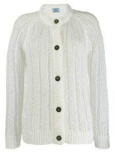 Prada ribbed button-up cardigan - White