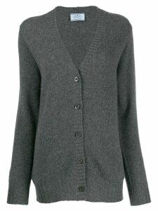 Prada ribbed trim cardigan - Grey