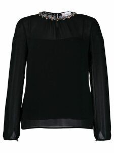 Red Valentino crystal collar blouse - Black