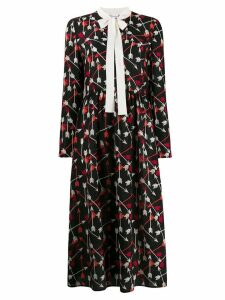 Red Valentino arrow print mid-length dress - Black