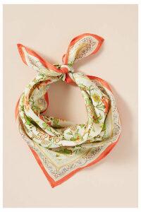Floral-Print Silk Scarf - Red