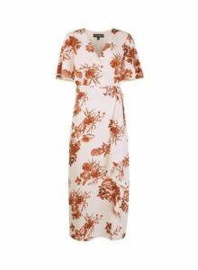 Womens Floral Print Maxi Dress- Pink, Pink