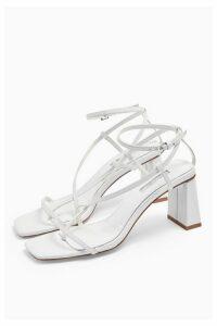Womens Nico White Set Back Heels - White, White