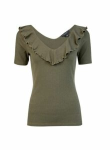Womens Khaki Short Sleeve Ruffle Neck Top, Khaki