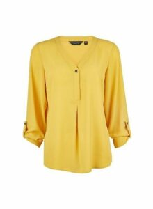 Womens Yellow Button Roll Sleeve Top, Yellow