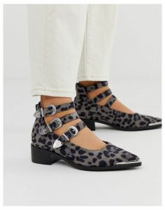 ASOS DESIGN Mae western flat shoes in leopard
