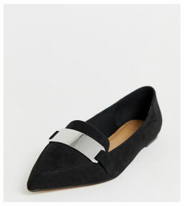 ASOS DESIGN Wide Fit Leonie pointed loafer ballet flats in black