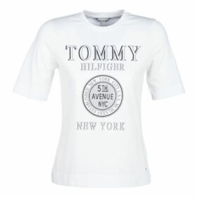 Tommy Hilfiger  DARCY C-NK TEE 1/2 SLV  women's T shirt in White