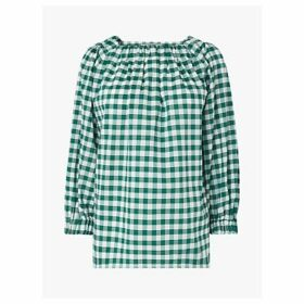 L.K.Bennett Saffron Gingham Print Top, Green/White
