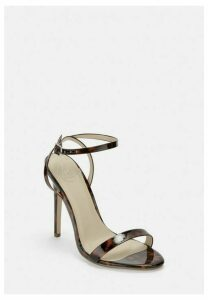 Brown Tortoise Print Barely There Stiletto Heels, Brown