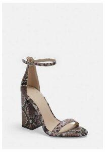 Brown Snake Block Heeled Sandals, Brown