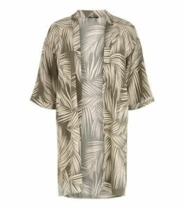 Curves Green Tropical Print Kimono New Look