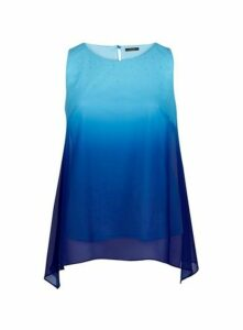 Blue Ombre Sparkle Top, Mid Blue