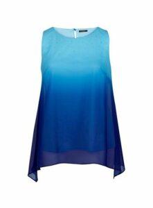 Blue Ombre Sparkle Top, Mid Blue