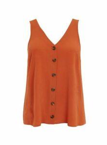 Rust Button Camisole Top, Orange