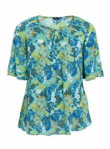 Blue Floral Print Top, Blue