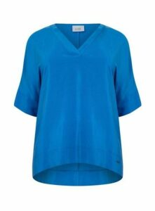**Live Unlimited Blue Cupro Box Blouse, Mid Blue