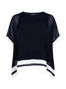 Navy Blue Contrast Stripe Overlay Blouse, Navy