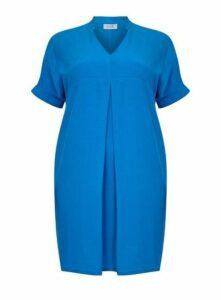**Live Unlimited Blue Cupro Collar Dress, Mid Blue