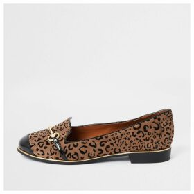 River Island Womens Brown leopard print wide fit loafers
