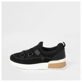 River Island Womens Black strap runner trainers