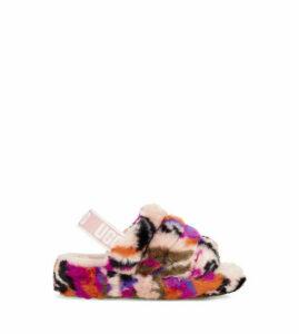 UGG Fluff Yeah Motlee Slide Womens Slippers Multi 9