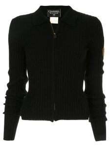 Chanel Pre-Owned zip-front ribbed knit jumper - Black