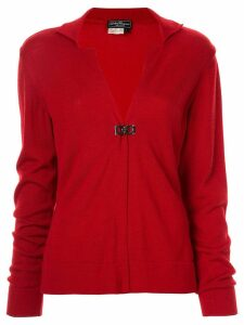 Salvatore Ferragamo Pre-Owned V-neck long sleeve cardigan - Red