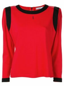 Yves Saint Laurent Pre-Owned square shoulder long-sleeve top - Red