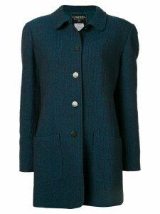 Chanel Pre-Owned slim tweed coat - Blue