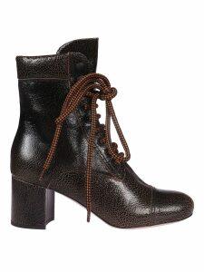 Miu Miu Textured Lace-up Boots