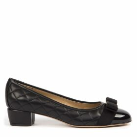 Salvatore Ferragamo Vara Quilted Black Leather Ballerinas