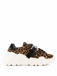 Paula Cademartori leopard lace-up sneakers - Neutrals